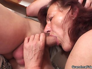 Granny fuck slut takes two loads