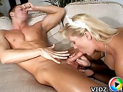 Knockout Bitch Lynn Ross enjoys putting a throbbing cock into her mouth!