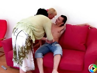 Chubby mature teacher and pretty nubile blonde bend over to take cock from behind