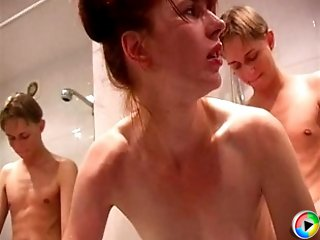 Smoking lady in her fourties seducing boy to have sex with her in the shower