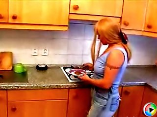 Lovely MILF gets her mature ass fucked hard in the kitchen