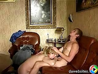 Younger lad fucks hot MILF on a leather sofa