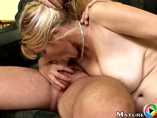 Watch blonde mom doing blowjob and enjoying cock riding.